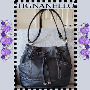 Tignanello Black Leather Drawstring Hobo Purse Bag